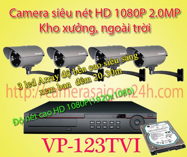 Lắp đặt camera quan sát giá rẻ camera quan sát FULL HD 1080P Kho xưởng VP-123TVI
