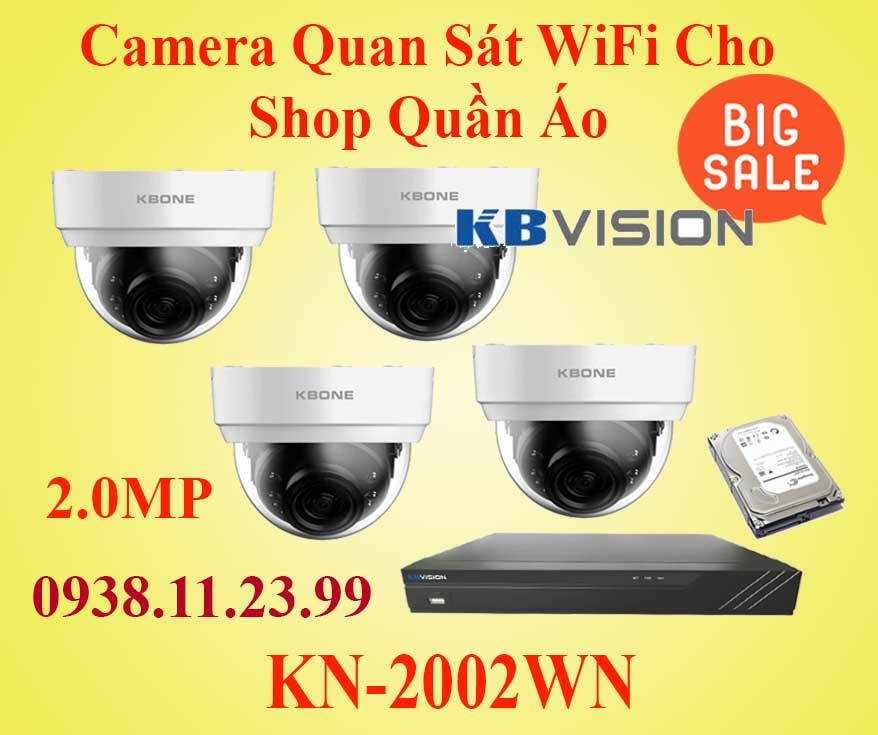 Lắp Đặt Camera Quan Sát WIFI Cho Shop Quần Áo, camera quan sát KN-2002WN, KN-2002WN, Camera quan sát dành cho shop quần áo, kn-2002wn,lắp camera wifi,camera wifi giá rẽ,