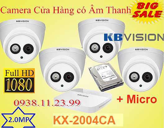 Lắp đặt camera có âm thanh Camera có tích hợp mic KX-2004CA là dòng camera lắp cho cửa hàng có âm thanh , có độ phân giải 2.0MP FULL HD 1080P tích hợp sẵn Micro giúp khách hàng quan sát hình ảnh có âm thanh , camera có âm thanh to rõ giá rẻ tiết kiệm dây hồng ngoại tốt đây là dòng camera giá rẻ đa chức năng