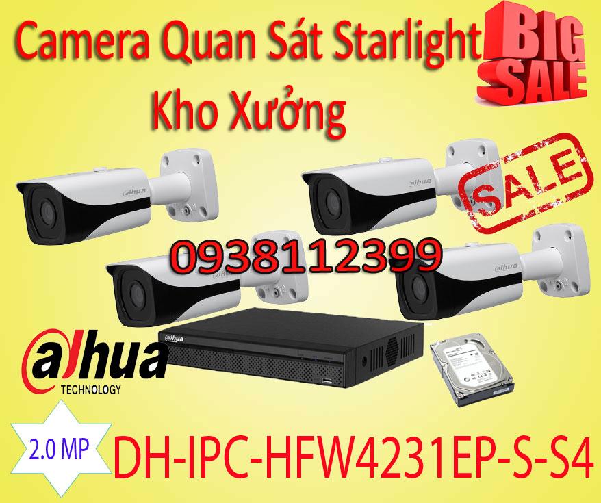 Lắp Camera Quan Sát Starlight IP Cho Kho Xưởng, camera starlight kho xưởng, camera dành cho kho xưởng, dh-ipc-hfw4231ep-s-s4, camera ban đêm có màu cho kho xưởng, lắp camera có màu ban đêm, lắp camera cho màu ánh sáng yếu cho kho xưởng
