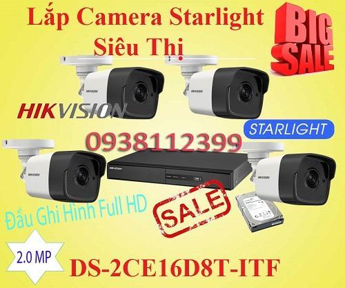 Lắp Camera Quan Sát Starlight Cho Siêu Thị, lắp camera quan sat DS-2CE16D8T-ITF,camera quan sát siêu thị, starlight cho màu ban đêm.camera cho siêu thị