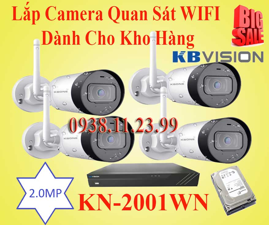 Lắp Đặt Camera Quan Sát WIFI Dành Cho Kho Hàng, camera quan sat kho hang, kn-2001wn, camera wifi kn-2001wn, lăp camera wifi quan sat kn-2001wn,