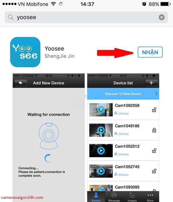 hướng dẫn cài camera yoosee trên điện thoại