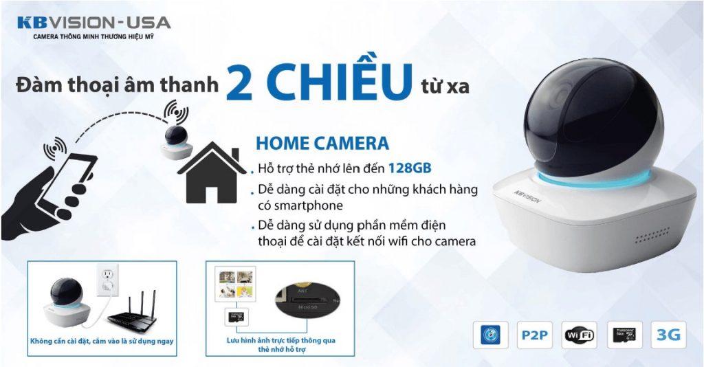 lắp đặt camera wifi quay 360 âm thanh 2 chiều KBVISION