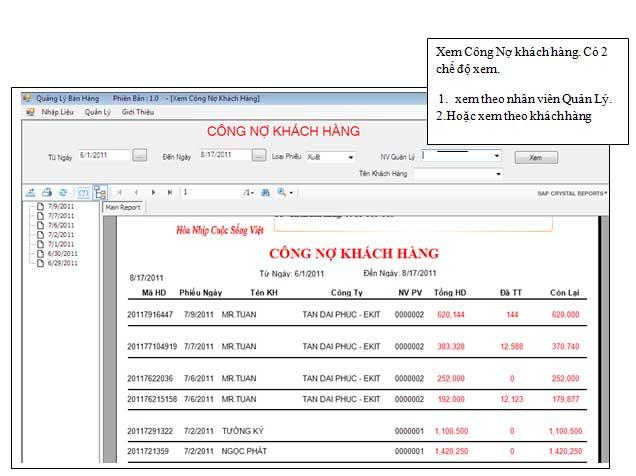 Phần mềm quản lý bán hàng miễn phí quản lý công nợ khách hàng