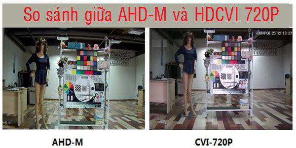 hình ảnh so sánh công nghê AHD  và công nghệ HDCVI