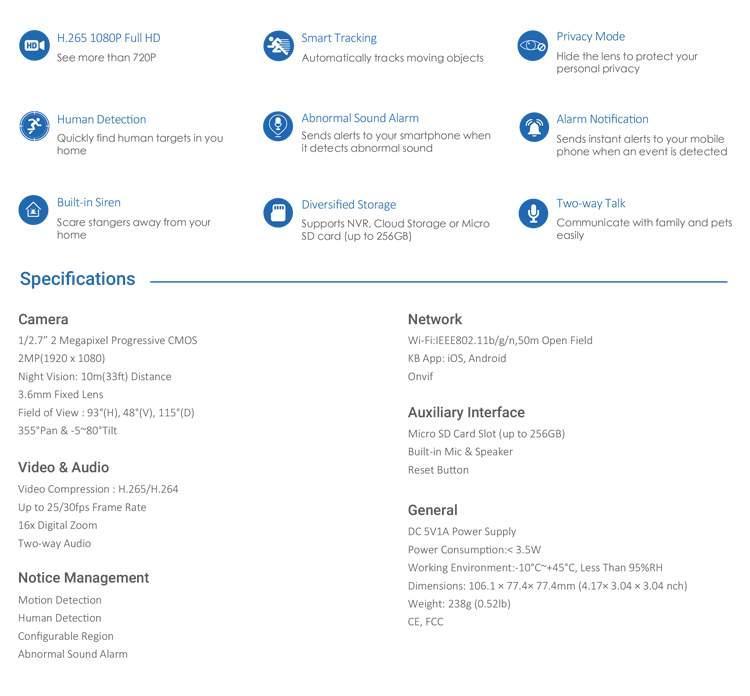 thông số kỹ thuất cmaera wifi KN‑H21PW