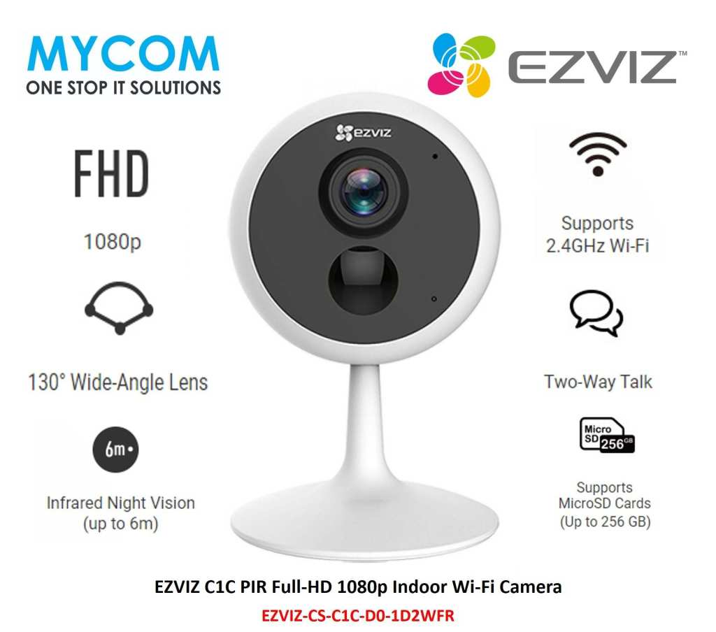 Camera EZVIZ CS-C1C-D0-1D2WFR (C1C 1080P) là dòng camera với độ phân giải Full HD 1080P đáp ứng tầm nhìn ban đêm sắc nét. Được thiết kế để lắp đặt