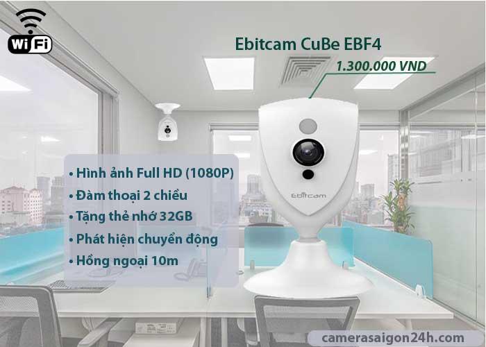 camera IP wifi Ebitcam EBF4 chính hãng giá rẻ hình ảnh full hd 1080P, đàm thoại 2 chiều âm thanh to rõ