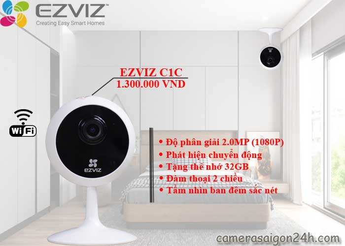 Camera Ezviz C1C 1080P chính hãng giá rẻ, hình ảnh sắc nét, đàm thoại 2 chiều âm thanh trung thực, tầm nhìn ban đêm sắc nét xa 12m
