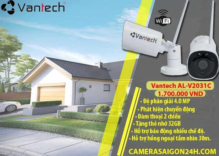 camera wifi ngoài trời vantech al-v2031 chính hãng giá rẻ, có độ phân giải 4.0 MP hình ảnh siêu nét, đàm thoại 2 chiều, hỗ trợ hồng ngoại tầm nhìn 30m, tích hợp công nghệ al phát hiện chuyển động thông minh