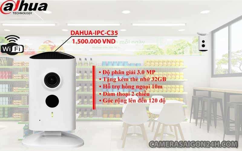 camera ip wifi dahua-ipc-c35 chính hãng giá rẻ độ phân giải 3.0 megapixel hình ảnh siêu nét FULL HD, đàm thoại 2 chiều, góc rộng lên đến 120 độ