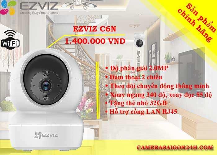 Camera wifi EZVIZ C6N độ phân giải 2.0MP, xoay ngang 340 độ, xoay dọc 55 độ, đàm thoại 2 chiều, theo dõi chuyễn động thông minh
