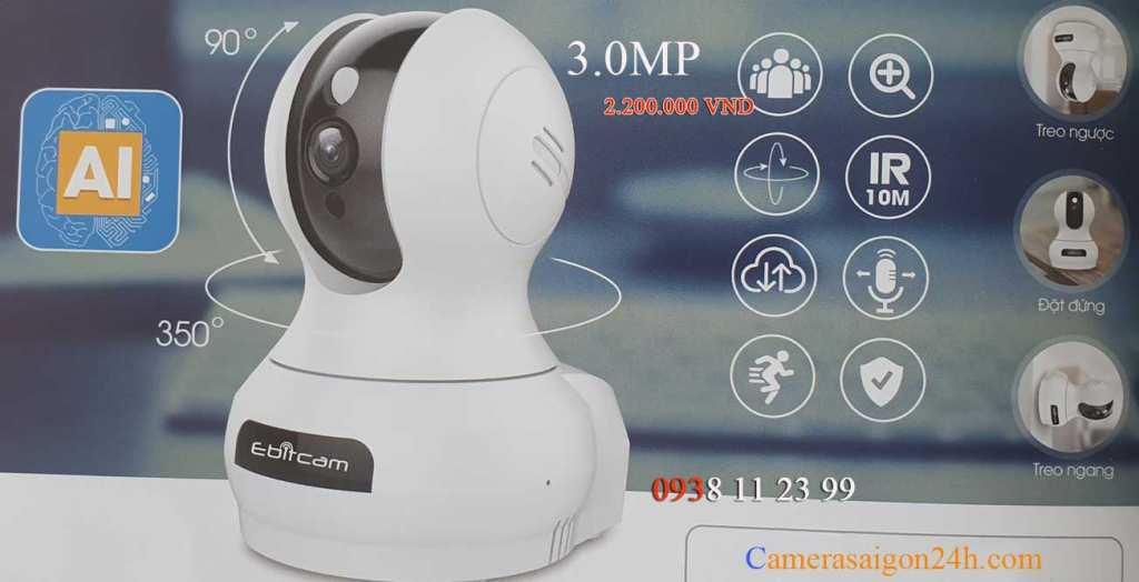 lắp camera giám sát wifi Ebitcam âm thanh 2 chiều tích hợp AL