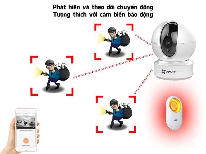 Lắp camera báo động chống trộm c6n CAMERA IP EZVIZ C6N 1080P CÓ MÀU BAN ĐÊM