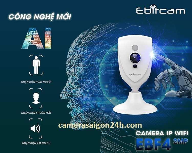 Bán Camera Cube EBF4 (2MP) giá rẻ - Camera Ebitcam Camera Ebitcam EBF4 (2MP) cho góc quan sát rộng 109, âm thanh 2 chiều to rõ và hỗ trợ phát hiện chuyển động thông min