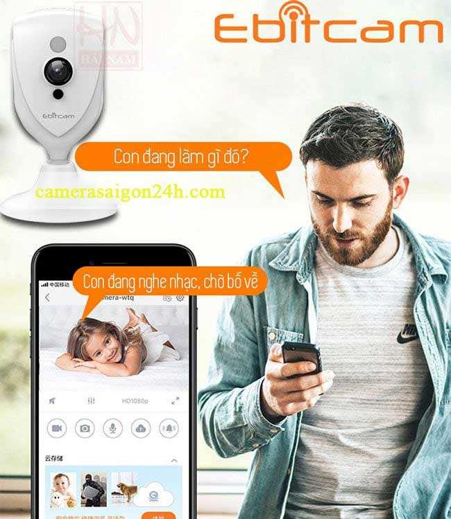 Camera EBITCAM EBF4 - Độ phân giải HD1080P  Camera IP không dây Ebitcam Cube EBF4 2M Full HD 1080P, Đàm thoại, Góc rộng giá rẻ