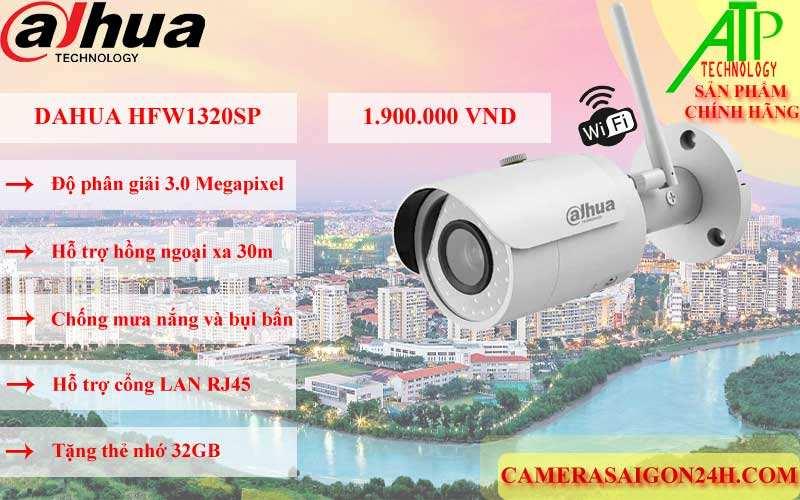 camera ip wifi dahua HFW1320sp chính hãng giá rẻ có độ phân giải 3.0 MP hình ảnh rõ nét, hỗ trợ led hồng ngoại thông minh tầm quan sát 30m, chống chịu mưa nắng