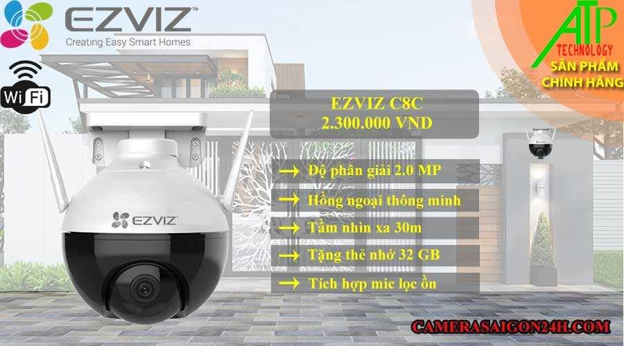 camera EZVIZ C8C chính hãng giá rẻ độ phân giải 2.0 MP FULL HD 1080p hình ảnh sắc nét, hỗ trợ led hồng ngoại thông minh tầm nhìn 30m, tích hợp mic lọc ồn âm thanh rõ ràng, hỗ trợ thẻ nhớ lên đến 256GB