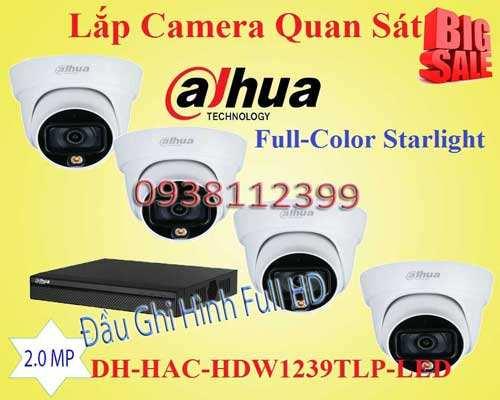 BỘ CAMERA QUAN SÁT CÔNG NGHỆ FULL COLOR DAHUA DH-HAC-HDW1239TLP-LED chính hãng, độ phân giải 2.0 MP