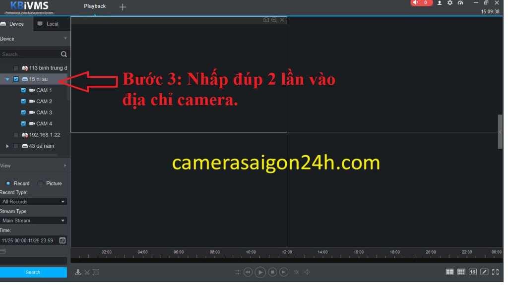 hướng dẫn xem lại dòng camera quan sát kbvision buoc 3