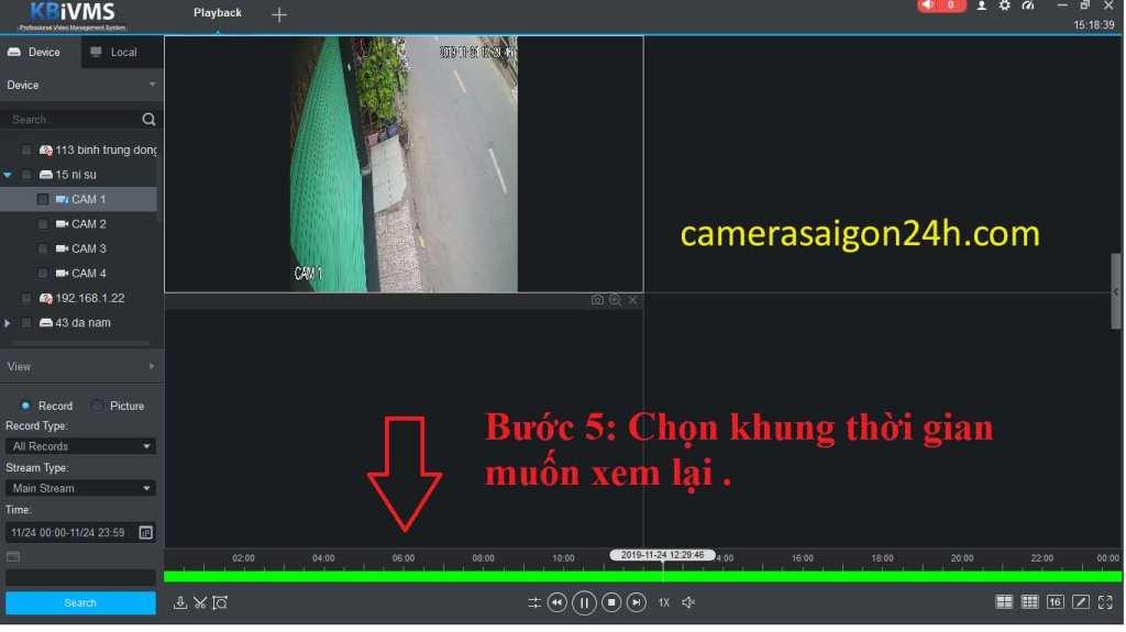 hướng dẫn xem lại dòng camera quan sát kbvision bước 5