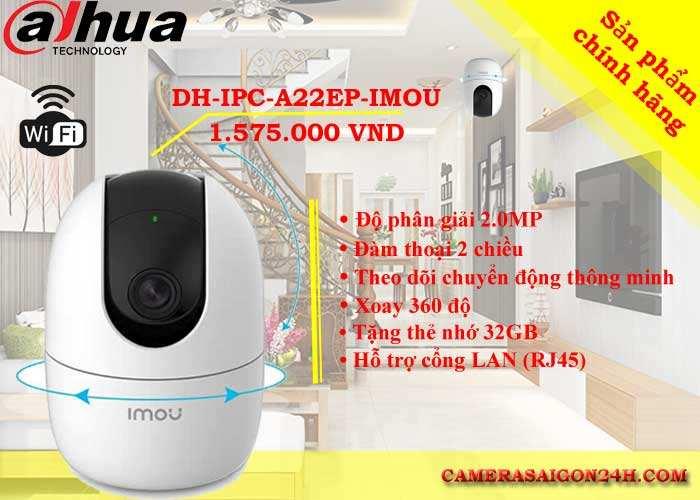 camera wifi 360 DH-IPC-A22EP-IMOU chính hãng giá rẻ độ phân giải 2.0MP hình ảnh sắc nét xoay 360 độ, đàm thoại 2 chiều, theo dõi chuyển động thông minh
