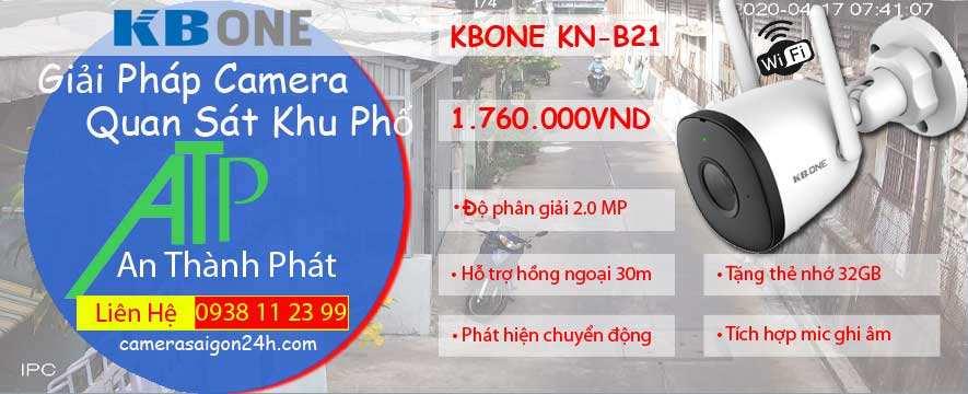 camera wifi ngoài trời kbone KN-B21 chính hãng giá rẻ độ phân giải 2.0 MP hình ảnh sắc nét, hỗ trợ hồng ngoại thông minh tầm nhìn 30m, tích hợp mic ghi âm, phát hiện chuyển động
