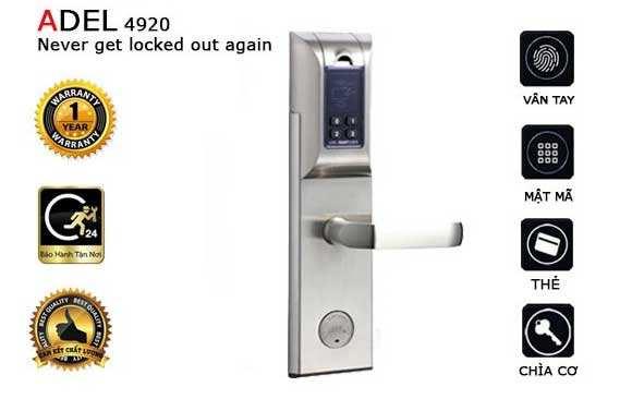 Khóa vân tay Adel và ưu nhược điểm Khóa Cửa Vân Tay Adel 5500 là dòng khóa cửa điện tử vân tay nổi tiếng của hãng Adel Mỹ. Đây là dòng khóa được bán chạy nhất của Adel. Sản phẩm mở cửa