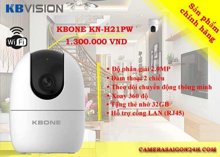camera wifi 360 KBONE KN-H21PW chính hãng giá rẻ độ phân giải 2.0MP hình ảnh sắc nét, đàm thoại 2 chiều, hỗ trợ hồng ngoại 10m, tích hợp còi báo động theo dõi chuyển động thông minh