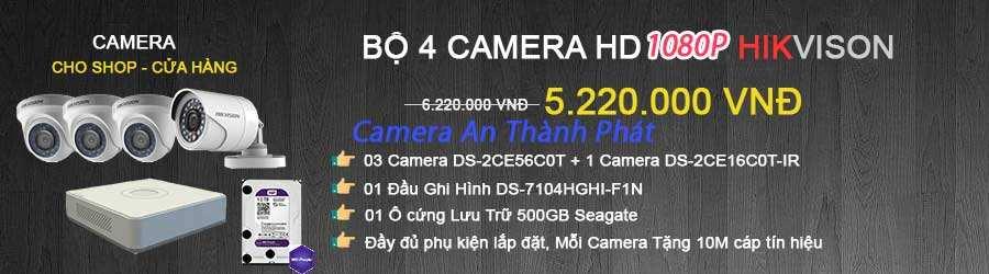 lắp đặt trọn bộ 4 camera hikvision cho cửa hàng