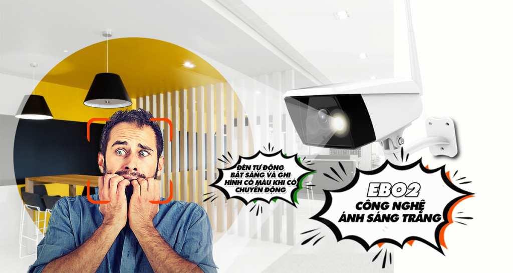 Camera EbitCam EBO2 IP Wifi 2MP giá tốt  Camera wifi IP hồng ngoại Wifi Ebitcam EB02 có độ phân giải 2.0 megapixel, thiết kế thẩm mỹ, vỏ nhựa màu trắng. Lắp đặt ngoài trời và có hỗ trợ đèn ánh sáng trắng