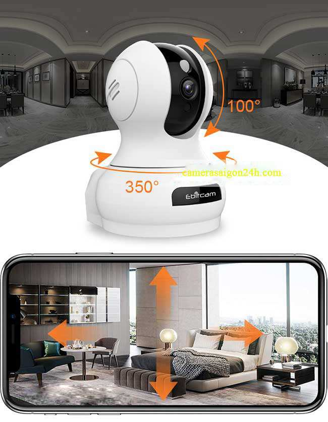 Camera IP Wifi 360 Độ Ebitcam E3 (2.0MP) - Camera Full HD Camera IP wifi Ebitcam E3 (2MP) quay quét Full HD 3MP thu âm 360 độ, IR 10m, F3.6mm, MicroSD, Phát hiện chuyển động, Giảm ồn thông minh.