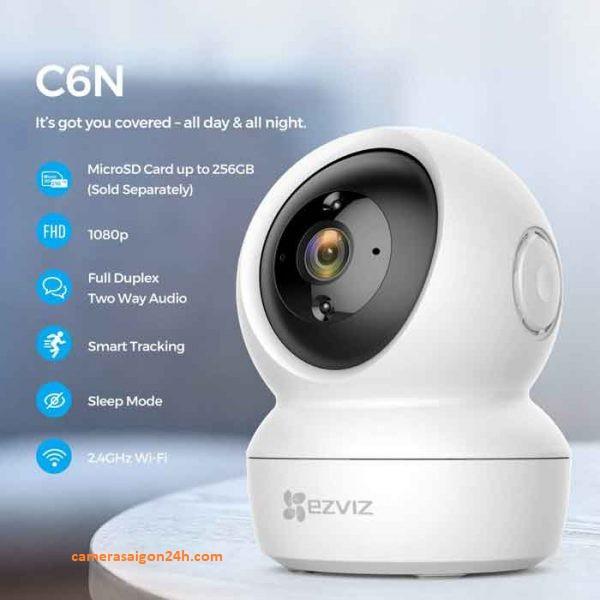 Camera IP Wifi Ezviz C6N 1080p-Hàng Chính Hãng  Camera IP wifi EZVIZ CS-C6N của EZVIZ được trang bị chức năng Smart IR, sử dụng công nghệ chiếu sáng hồng ngoại (IR) tiên tiến giúp thu được nhiều chi tiết