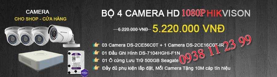 trọn bộ 4 camera giám sát cho cửa hàng