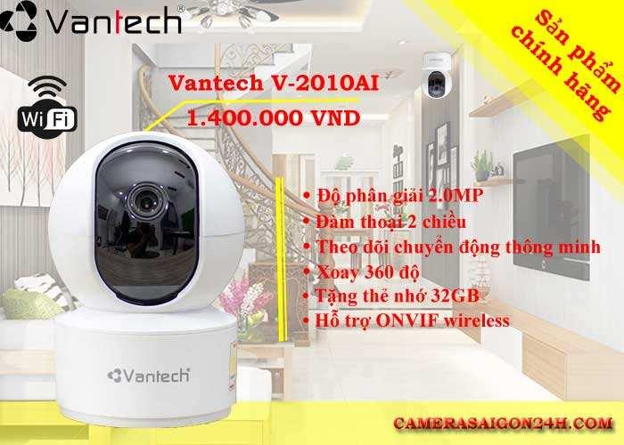 camera vantech wifi v2010AL 2.0MP hình ảnh sắc nét, xoay 360 độ, đàm thoại 2 chiều, theo dõi chuyển động thông minh