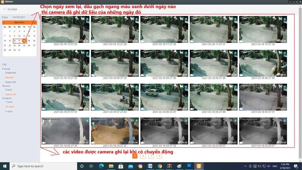 xem lại camera ebitcam trên máy tính