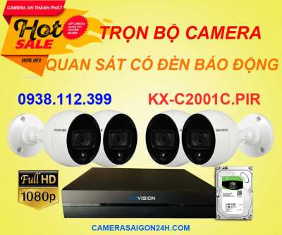 lắp camera quan sát có đèn báo động, camera báo động,camera quan sát báo động, camera KBVISION KX-C2001C.PIR, camera có đèn báo động, camera KX-C2001C.PIR giá rẻ