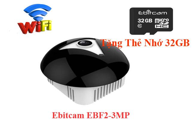 camera fisheye 360 EBITCAM EBF2 3MP là camera IP Wifi dạng mắt cá, quan sát 360 độ. Rất thích hợp để lắp trong nhà hoặc văn phòng (thích hợp nhất là trên trần nhà hoặc góc trần nhà).lắp camera wifi ebitcam giá rẻ giám sát toàn cảnh chất lượng