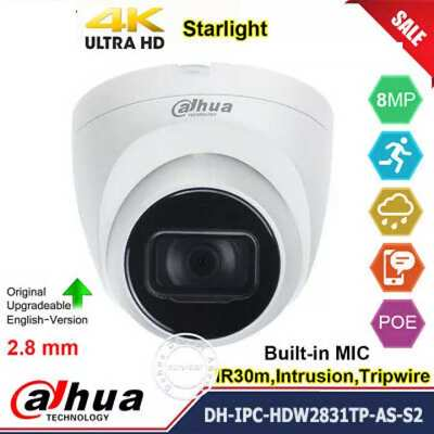 DH-IPC-HDW2831TP-AS-S2,camera giám sát, camera quan sát, Camera IP Dome 8.0MP DH-IPC-HDW2831TP-AS-S2