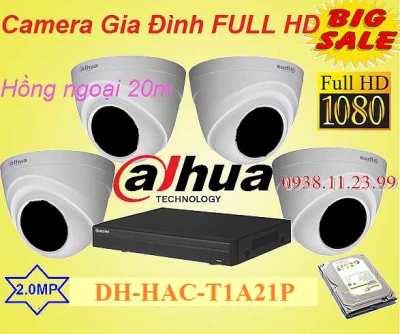 trọn bộ camera gia đình FULL HD dahua  HAC-T1A21P độ phân giải 2.0MP, hồng ngoại 20m
