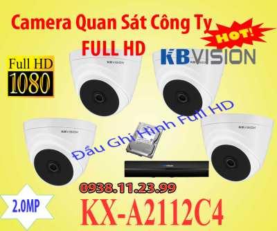 BỘ CAMERA QUAN SÁT KBVISION KX-A2112C4 CHO GIA ĐÌNH chính hãng giá rẻ độ phân giải 2.0MP