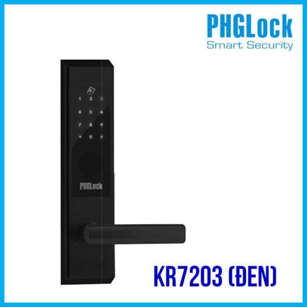 Khóa mã số PHGLock KR7203 màu đen,Bán Khóa cửa điện tử cho nhà phố PHGLOCK KR7203 (Đen),Khóa cửa điện tử PHGLock FP5293 (Đen),Khóa mã số căn hộ PHG KR7203(ĐEN)