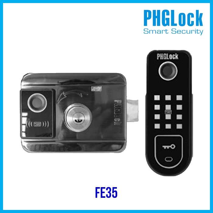 Khóa cửa vân tay điện từ PHGLock FE35,Bán khóa cổng vân tay lắp ngoài trời PHGLock FE35 ,Bán khóa cửa sắt PHGLock FE35,Khóa cổng PHGlock FE35