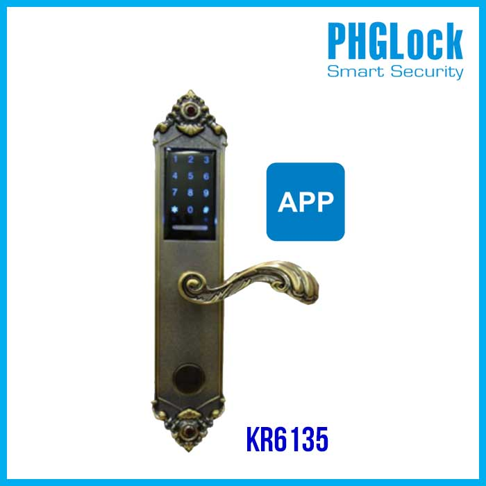Khóa cửa điện tử PHGlock KR6135 App(đồng), Khóa điện tử thông minh PHGlock KR6135 App(đồng), PHGlock KR6135 App(đồng), Khóa cửa KR6135 App(đồng)