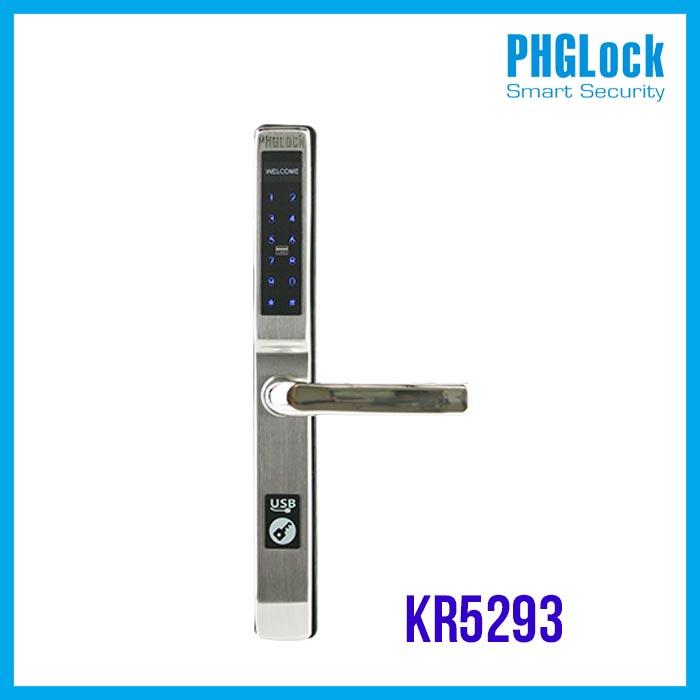 Khóa cửa điện tử PHGLock KR5293 (Bạc),Khoá cửa nhôm văn phòng PHGLock KR5293 (Bạc),Khóa cửa cảm ứng cho cửa nhôm PHGLOCK KR5293S (Bạc) ,