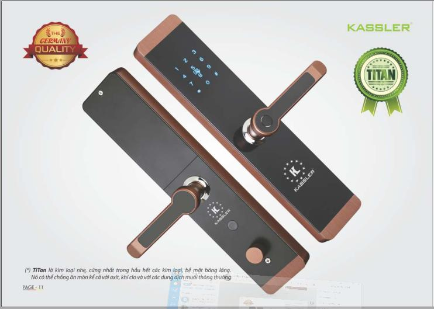 Khóa điện tử Kassler KL-600 COPPER,Khóa vân tay Kassler KL-600 ,Khóa cửa điện tử thông minh Kassler KL-600,Khóa cửa KL 600 Copper
